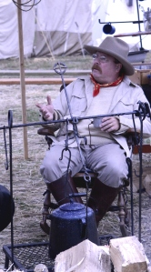TR in cowboy camp