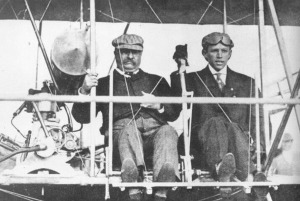 TR riding in a Wright Flyer