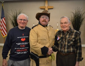 "IN HONOR OF VETERANS DAY, Nov. 11, 2014 —Minnesotan Adam Lindquist's award-winning portrayal of America's 26th president, Theodore ""Teddy"" Roosevelt, entertained a roomful of guests and veterans at Covenant Village of Golden Valley on Tuesday, Nov. 11. Pictured, left to right, Brooklyn Park, Minn.-resident Marvin Ceynar; Adam Lindquist as Teddy Roosevelt; and U.S. Navy veteran and Covenant Village of Golden Valley resident Wally Swanson."
